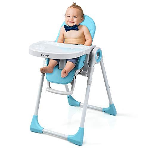 COSTWAY 2 in 1 Kinderhochstuhl höhen- und winkelverstellbar, Hochstuhl klappbar, Kinderstuhl mit Liegefunktion, Babystuhl multifunktional, Kombihochstuhl, Babyhochstuhl für Babys über 6 Monate (Blau)