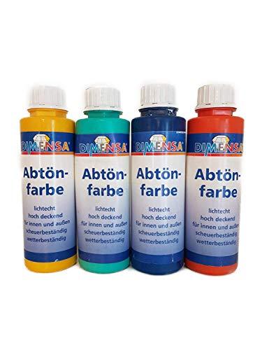 4x0,5 l Dimensa Abtönfarbe Innen/Außen 2 Liter Farbwahl, Farbe:Ziegelrot 420