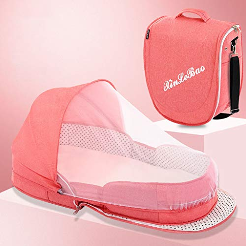 JHZYP Baby Bed Backpack Travel Bag, Foldable Nappy Backpacks, 2020 New Sleeping Pod Infant Lounger Sleeper Crib with Canopy,Mosquito Net Sleeping Basket with Toys, for Dad Mom,PINK