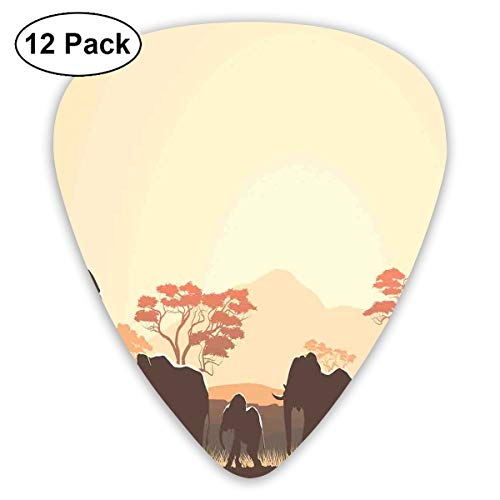 Gitaar Picks12 stks Plectrum (0.46mm-0.96mm), Afrikaanse Wildlife Safari Big Animal Elephants In Forest Met Lake Nature Scene,Voor Uw Gitaar of Ukulele