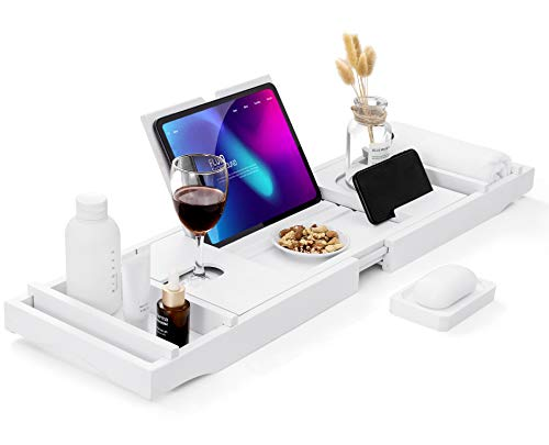 HB-life Bathtub Caddy Tray [Durable, Non-Slip], One or Two Person Bath and Bed Tray, Extending Sides Fits Any Tub, Cellphone iPad and Wineglass Holder, Free Soap Holder -White