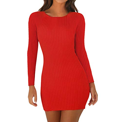 Masrin Etuikleid Damen Sexy einfarbiges Minikleid Figurbetontes Kleid mit Rundhalsausschnitt und Langen Ärmeln Eng anliegendes Kleid Party Kleid Club-Kleid