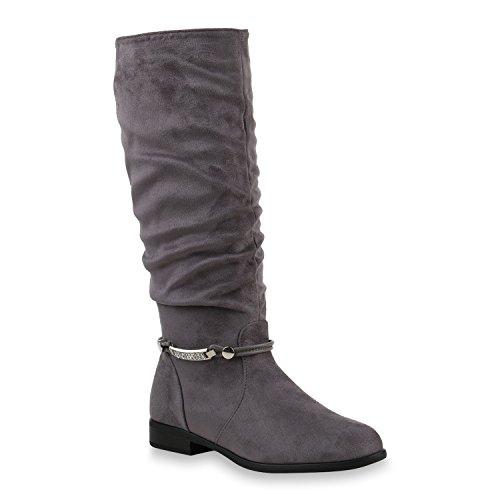Damen Klassische Stiefel Strass Zierperlen Schuhe 146068 Grau Bernice 40 Flandell
