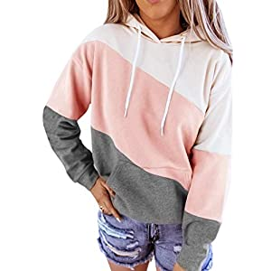Women's Long Sleeves Color Block Hoodie Tops Casual Drawstring Loose ...