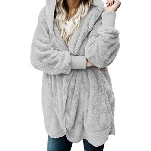 REWORDGT Winter Teddy-Mantel-Frauen-Pelz-Mantel-Teddybär Jacke Starke warme Gefälschte Fleece Fluffy Jacken Pullover Plus Size Gray XXXL
