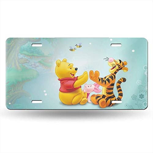 Suzanne Betty Aluminum License Plates - Tigger Piglet and Winnie The Pooh License Plate Tag Car Accessories 12 X 6 Inches