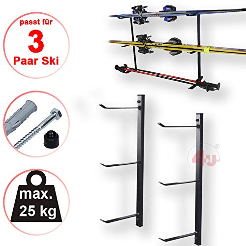 Skihalter Set Skiträger Skistöcke Ski Aufbewahrung Wandhalter Halter für 3 Paar Gerätehalter Wandmontage Skiaufbewahrung