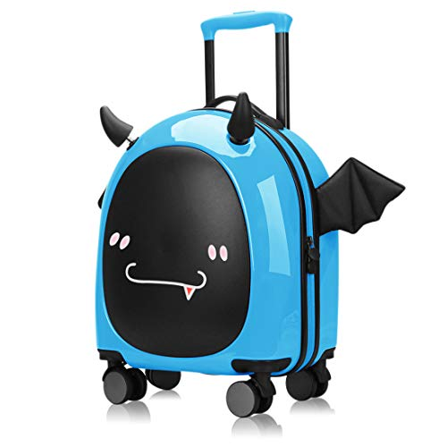 16 inch Kids Hardside Luggage, 3D cute Little Demon Design With Emoji sticker By Sindermroe (Blue)