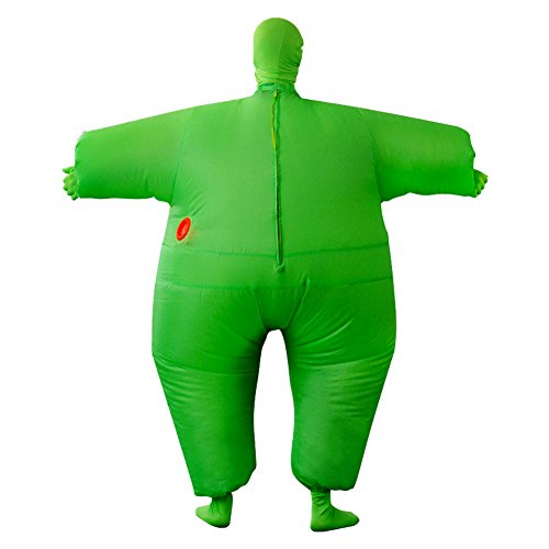Adult Inflatable Full Body Jumpsuit Cosplay Costume Halloween Funny Fancy Dress Blow Up Party Toy, Green, Adult size