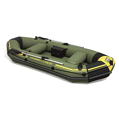 """Bestway Hydro Force Marine Pro 115"""" Inflatable 2 Person Fishing Boat Lake Raft with 2 Aluminum Oars, Inflation Pump, and Fishing Rod Holders, Green"""