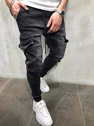 Jeans Pantalon Herren Multi-Pocket Jeans Jeans Skinny Pencil Pants Jeans Elastizität Reißverschluss Lace-Up-Black_XL