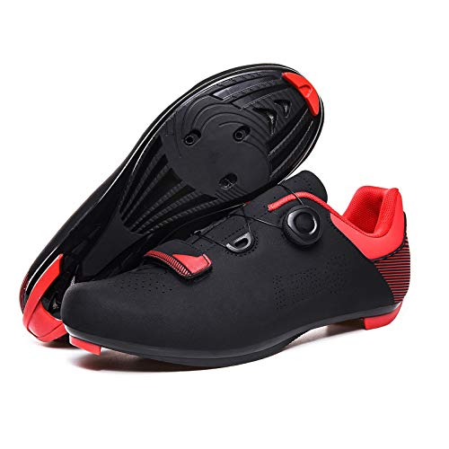 ZYSM Men's cycling shoes Breathable Road Bike Shoes MTB Biking Cycling Shoe with Quick lace Compatible SPD Cleats spin shoes indoor cycling,Black,41