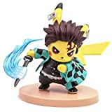 Lindsays Demon Slayer Blade Action Character Pikachu Cosplay Tanjirou Pikachu Character Statue Collection Birthday Model Anime Action Figure Toys Gifts PVC 4.3'