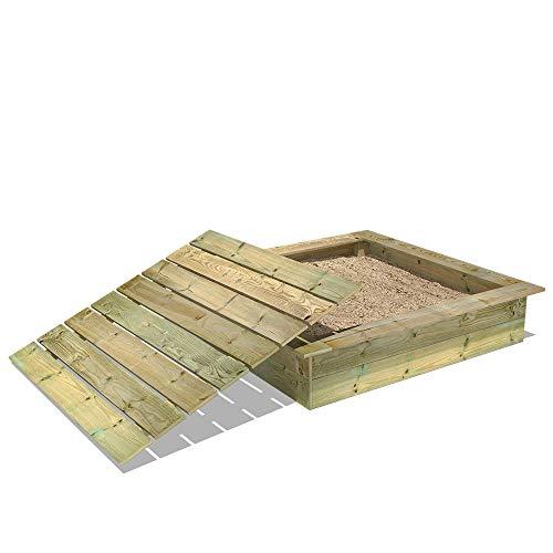 Wickey KingKong houten zandbak met zitrand 145x145 cm inclusief deksel
