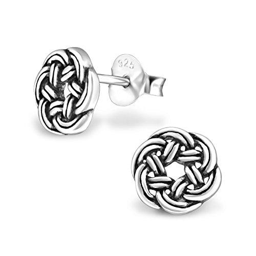ICYROSE 925 Sterling Silver Round Celtic Knot Stud Earrings 1682 (Nickel Free)
