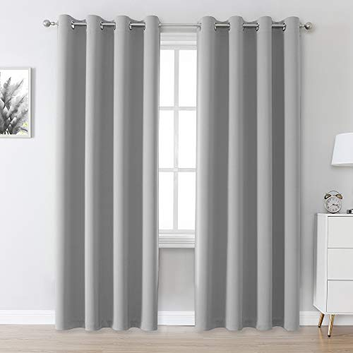 Ultimate Gray Blackout Curtain Panels/Drapes for Living Room 84 inch Length Solid Energy Efficient Room Darkening Bedroom Curtains Thermal Insulated Grommet Top 52x84 inch
