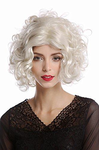 WIG ME UP -1352-ZA613 Parrucca Donna Carnevale Halloween Diva Hollywood Corta Riccia Riga in Mezzo Liscia Platino Biondo Platino