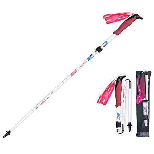 ZQZQMR Poste de Trekking de Fibra de Carbono Completo, Cuerpo de Polo Ultraligero Plegable, función rápida de desbloqueo y Bloqueo, Fuerte absorción de Golpes, para Todos l Pink