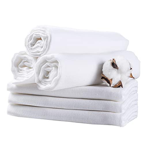 Mullwindeln Baby 6er Set 80X80cm AKK BABY | Musselin Tuch mit verstärkter Umrandung| ÖKO-TEX zertifizierte Premium Qualität Weiß diaper bin| Spucktücher, Mulltücher Saugstark Baumwolle für Baby