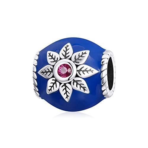HMMJ S925 Plata de Ley DIY Hecho a Mano Vintage Estilo Familiar Goteo Blue Lotus Charm Beads para Pandora/Troll/Chamilia Charm Bracelet SCC1822