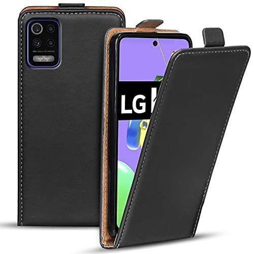 Verco Flip Cover für LG K52 Hülle, Flipstyle Schutzhülle für LG K52 Hülle Kunstleder Tasche vertikal klappbare Handyhülle, Schwarz