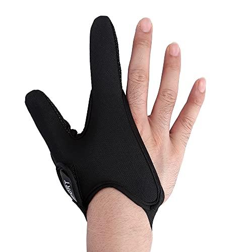 Faletony Angelhandschuhe Doppel-Fingerschutz Angelhandschuhe Schutzhandschuhe Professionelle Schutz Elastisches Angelzubehör für Outdoor-Angeln (Rechte Hand schwarz)