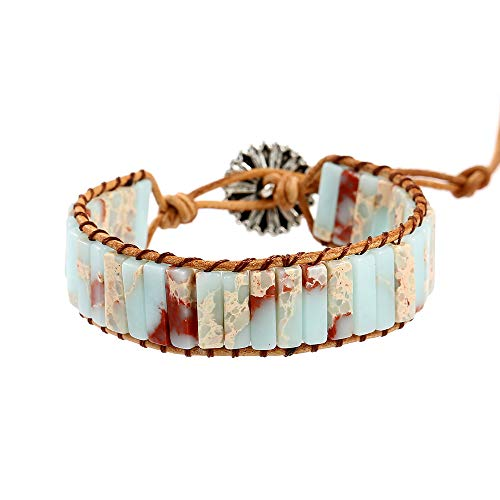 Plumiss Fashion Agalmatolite Beaded Wrap Leather Bracelet Jewelry