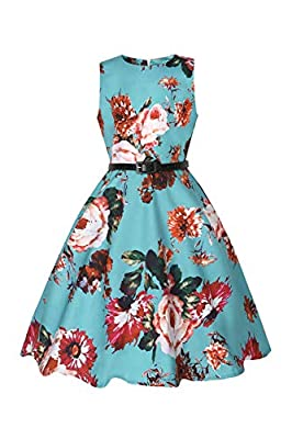 YOYO Princess Girls Sleeveless Floral Printed Party Dresses Casual Party Dress with Belt