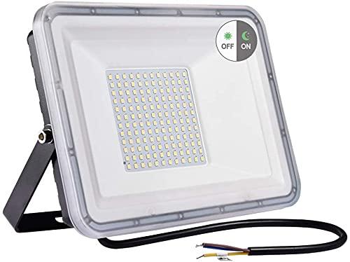 100W LED Strahler Außen mit Dämmerungssensor, IP67 Wasserdicht LED Fluter, 8000LM Außenstrahler, 6500K Kaltweiß LED Scheinwerfer Flutlicht für Garten, Innenhöfe, Werkstatt, Hinterhof, Auffahrt