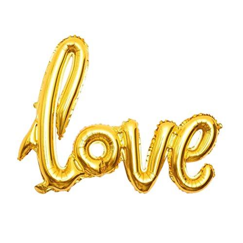 NUOLUX Folienballon Liebe Love Ballon Buchstabe Luftballon Romantische Dekoration (Gold)