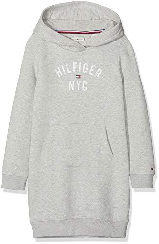 Tommy Hilfiger Essential Hoodie Sweatdress Sudadera Vestido, Gris (Grey Pz2), 152 (Talla del Fabricante: 12) para Niñas