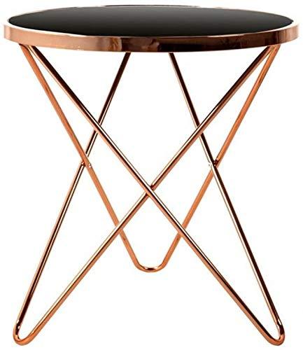 MEETGG Couchtisch klein schwarz Glas Beistelltisch Balkon kleiner runder Tisch Wohnzimmer Sofa Home Telefontisch (Farbe: schwarz, Größe: 55 x 57)