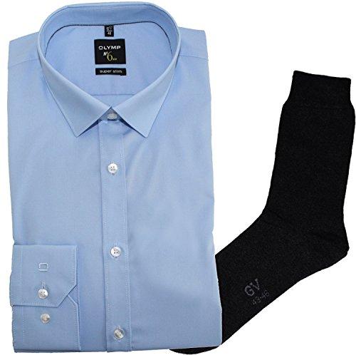 OLYMP Herrenhemd No6 six, super Slim, Urban Kent, hellblau + 1 Paar hochwertige Socken, B&le