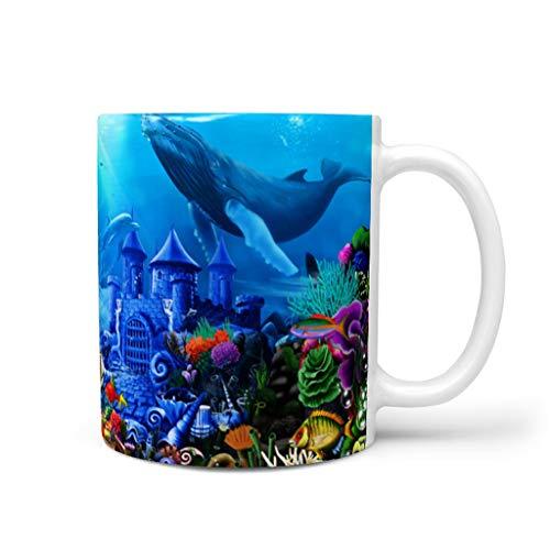 CCMugshop Divertida taza de café de cerámica con diseño de castillo bajo el agua de ballena, delfín, tortugas, peces impresos, color blanco, 330 ml