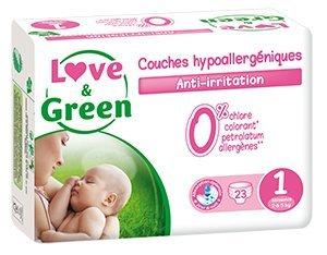 Love & Green - Couches Bébé Hypoallergéniques 0% - Taille 1 (2-5 kg) - Lot de 3 x 23 couches (69 couches)