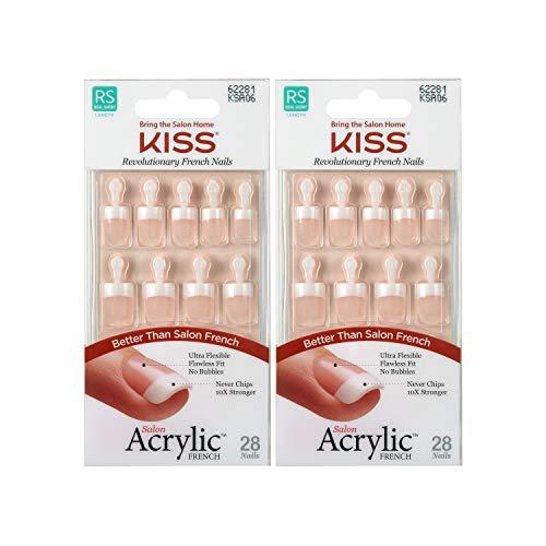 KISS Salon Acrylic French Nails Kit Pet Peeve Real Short (2 PACK)