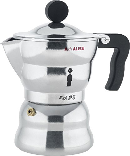 Alessi AAM33/3 'Moka' Stove Top Espresso 3 Cup Coffee Maker in Aluminium Casting Handle And Knob in Thermoplastic Resin, Black