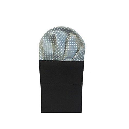 Label-Cravate Pochette-mouchoir costume pliée grise à pois