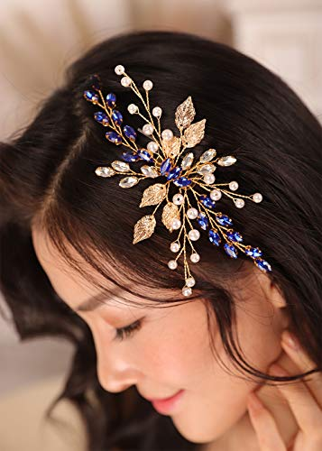 Kercisbeauty Royal Blue Crystal Gold Headpiece for Women Wedding Bridal Boho Jewelry Side Headband for Her Prom or Dancing Ball Hair Piece with Leaf