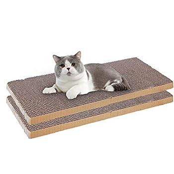 OMEM Lot de 2 tapis à gratter antidérapants avec herbe à chat - Facile à découper - Canapé ondulé pour chat