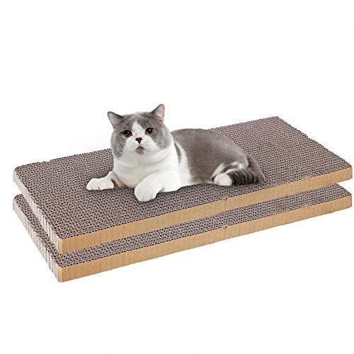 OMEM - Rascador de gato antideslizante para gatos de cartón adecuado para arañar garras de gato, dormir y jugar en cualquier lugar, fácil de recortar y bricolaje como quieras (2 paquetes)