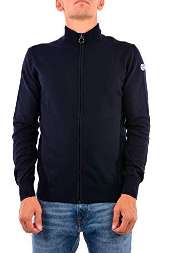 NORTH SAILS Uomo Cardigan con Cerniera in Blu Navy Misto Lana/Cotone vestibilità Aderente con Bordi a Costine e Collo Alto - M