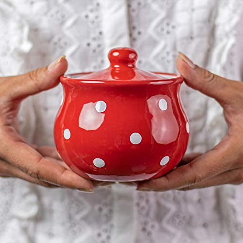 City to Cottage | Sucrier Pot de sucre | rouge à pois blancs en céramique avec couvercle fait et peint à la main