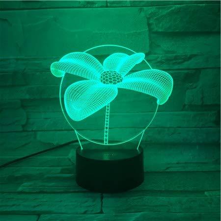 Nur 1 Stück Vierblatt Tisch 3D Lampe Berührungssensor RBG Neuheit Beleuchtung Kind Kinder Baby Geschenk Gadget Led Nachtlicht Dekor