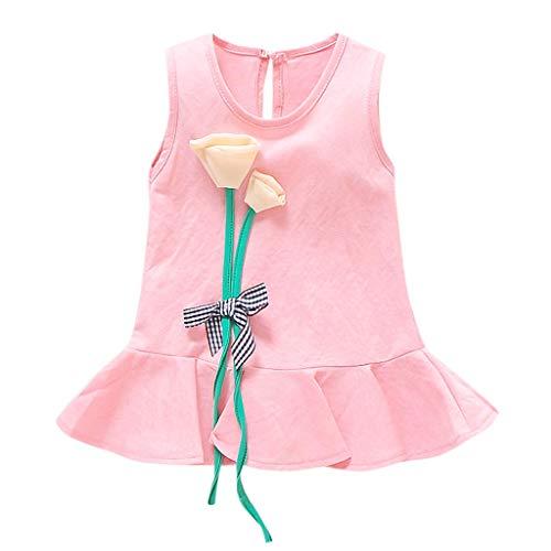 Longra zomerjurk voor baby's, meisjes, mouwloos, bloemen, prinsessenjurk, bloemenmotief, partyjurk, casual, strandjurk, meisjes, stropdassen, vintage, bedrukt, korte jurk, ronde hals.