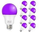 ZHMA LED Black Light Bulbs,12W E26 Medium Base(110V- 240V) UV Blacklight Bulb, Glow in The Dark,Black Lights for Glow Party,Fluorescent Poster,Halloween,Body Paint,Neon Glow(8 Pack)