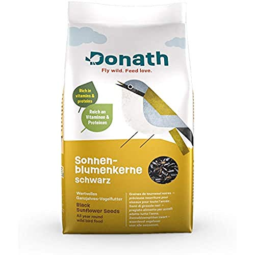 Donath Semi di Girasole Neri - miracoloso concentrato Ricco di vitamine, proteine e Olio – pregiato Cibo per Uccelli Selvatici Adatto Tutto l'Anno - dalla Nostra manifattura nel Sud della Germania