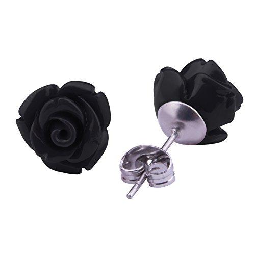 Rose Stud Earrings Black Stainless Steel Flower Earrings 10 mm Ear Jewellery for Women