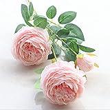 ASDGSDS Flores Artificiales, Factory Style 3 Peony Flores Artificiales Home Wedding Decorativo Florero de Plantas Falsas para Accesorios de Decoración, Rosa