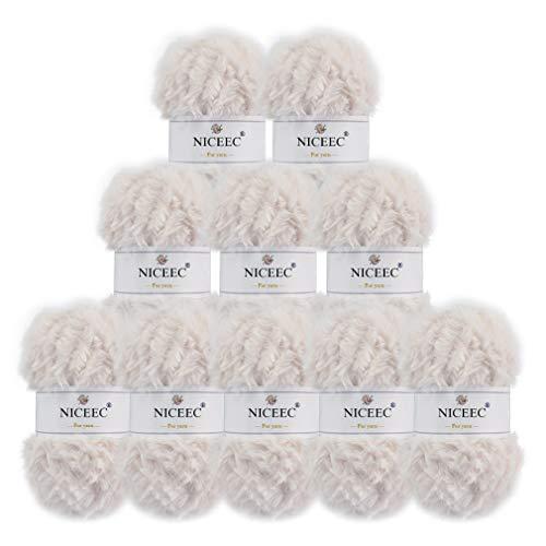 NICEEC 10 Skeins Soft Fur Yarn Super Chunky Faux Fur Yarn Fluffy Yarn 100% Polyester Yarn Fancy Eyelash Yarn for Crochet Knit-Total Length 10